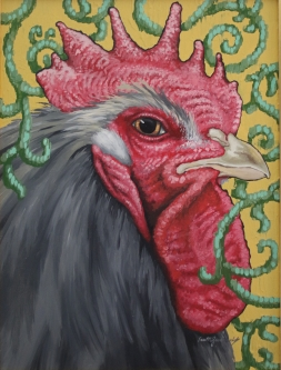 Eric Fausnacht  Gray Rooster with Vine Crewelwork  Acrylic  24 x 18  $800.