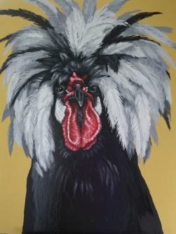 Eric Fausnacht  White-crested Black Polish Rooster  Acrylic   48 x 36  $2200.