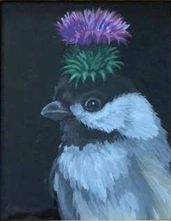 ERIC FAUSNACHT CHICKADEE THISTLE   Acrylic   $300.   SOLD