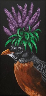 ERIC FAUSNACHT  ROBIN WITH LAVENDER   Acrylic  $425.