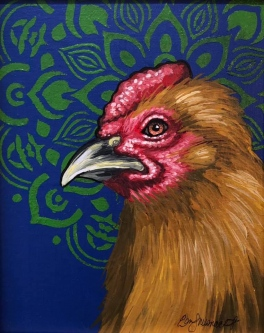 "ERIC FAUSNACHT   ""Rooster""  IX  Acrylic  10  x 8  $250."