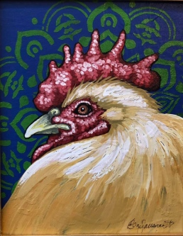"ERIC FAUSNACHT   ""Rooster""  X  Acrylic  10  x 8  $250."