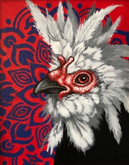 "ERIC FAUSNACHT   ""Rooster""  V  Acrylic  10  x 8  $250."