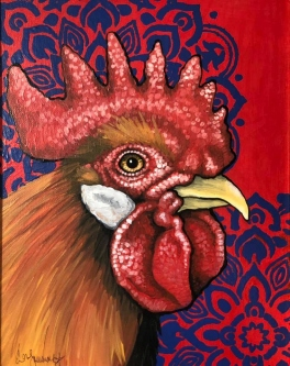 "ERIC FAUSNACHT   ""Rooster""  I  Acrylic  11  x 14  $350."