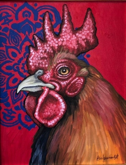 "ERIC FAUSNACHT   ""Rooster""  II  Acrylic  11  x 14  $350."