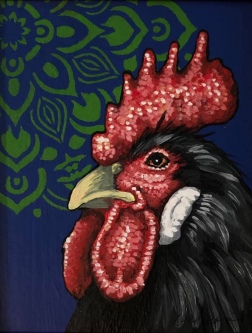 "ERIC FAUSNACHT   ""Rooster""  IV  Acrylic  10  x 8  $250."