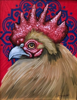 "ERIC FAUSNACHT   ""Rooster""  III  Acrylic  11  x 14  $350."