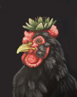 Eric Fausnacht  |  Hen with Hen and Chick  |  Acrylic on panel |  20 x 16 |  $700. | SOLD