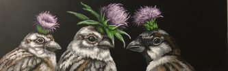 ERIC FAUSNACHT CHICKADEES WITH THISTLES   Acrylic  $900.