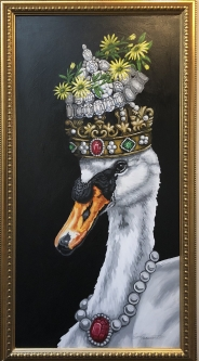 ERIC FAUSNACHT   SWAN WITH THREE CROWNS  Acrylic   52 x 28  SOLD