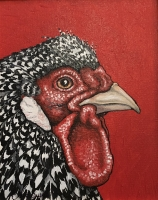 ERIC FAUSNACHT CHICKEN CHATTER  Black & White Hen  Acrylic on Canvas 10 x 8  $250.