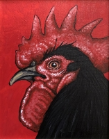 ERIC FAUSNACHT CHICKEN CHATTER  Black Rooster IV  Acrylic on Canvas 10 x 8  $250.