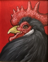 ERIC FAUSNACHT CHICKEN CHATTER  Gray Rooster  Acrylic on Canvas 10 x 8  $250.
