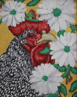 Eric Fausnacht  Barred Plymouth Rock Rooster with Daisy Crewelwork  Acrylic   20 x 16  $800.