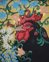 Eric Fausnacht  Black Rooster with Blue Floral Crewelwork  Acrylic   20 x 16  $800.