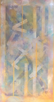 Sheila O'Keefe Braun |  #A1 |  Floor Cloth - Acrylic on Vinyl - painted with fingers and palette knives |   65 X 32 |  $850.