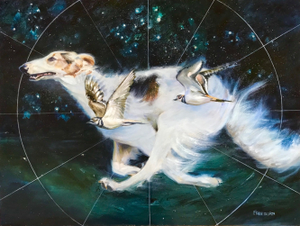 Gay Freeborn |  Circling the Universe   Oil and aluminum-leaf on canvas   40 x 60 -  framed |   $2600.