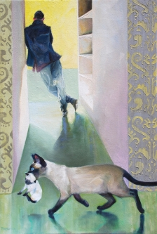 Gay Freeborn |    Moving Day |  oil on canvas |  40 x 27 | handmade frame |  $3,000.