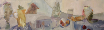 Georganna Lenssen |  Morning Light and Tables, 2020 |  oil on board  17 x 58, 18 x 59 f |  $4,000.