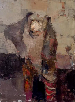 Gini Illick | Brown Bear with Red Boots On | Oil on Canvas | 24 x 18 | SOLD