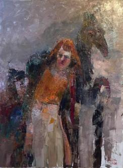 Gini Illick | Figure with Creature | Oil on Canvas | 40 x 30 | Inquire