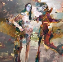 Gini Illick | Two Different Figures | Oil on Canvas | 40 x 40 | Inquire