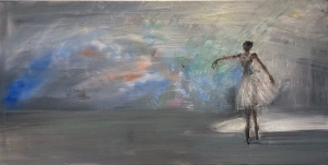 Gregory Prestegord  |  Ozy Dancers VI  -  Closed series of 7 |  Oil on canvas |  24 x 48 |  $8,500. SOLD