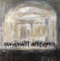 Gregory Prestegord |  Abstract Orchestra |  Oil on panel |  18 x 18 |  $2,400.