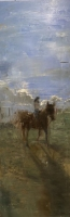 Gregory Prestegord  |  Girl on Horse |  Oil on canvas |  59 x 20 |  $8,500. SOLD