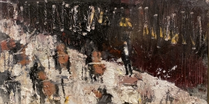 Gregory Prestegord |  Abstract Concert |  Oil on panel |  4x8 |  $600.
