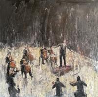 Gregory Prestegord  |  Cellists |  Oil on panel |  30x30 |  $5,200.