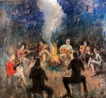 Gregory Prestegord |  Good Times |  Oil on Panel |  48 x 48 |  $11,000. | SOLD