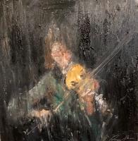 Gregory Prestegord |  Violinist |  Oil on Panel |  8 x 8 |  $1,100.