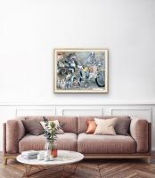 Robert A. Nelson |  Wolf:Biker Winter Truce, 2019  |  Collage- pencil, colored pencil, aquamedia |  32 x 40  |  $7,200.