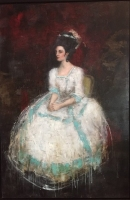 LADY SITTING IN WHITE DRESS - SOLD