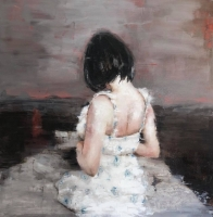 James Doherty |   Girl in Flowered Dress |   Oil and cold wax on panel |   30 x 30  |  SOLD
