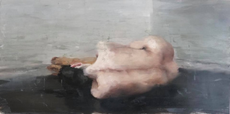 James Doherty |   Nude  I - Philadelphia Sketch Club |  Oil and cold wax on panel |   12 x 12  |  SOLD