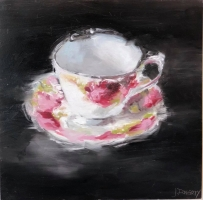 James Doherty |  Morning Tea I  I   Oil and cold wax on cradled board  |  12 x 12  |  $900. unframed