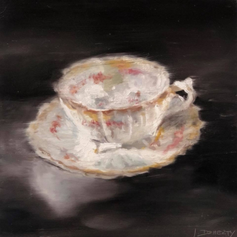 James Doherty |  Morning Tea II  I   Oil and cold wax on cradled board  |  12 x 12  |  $900. unframed