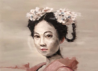 James Doherty |   Geisha with White Flowers in Hair |   Oil and cold wax on panel |   18 x 24 |  SOLD