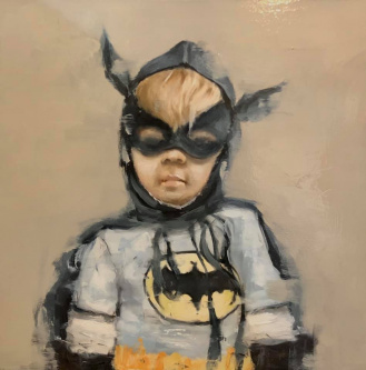 James Doherty |  Self Portrait (from photograph at age 5) |  Oil and cold wax on panel |  12 x 12 |  $1,600. SOLD