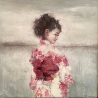 James Doherty |  Geisha in White Kimono |  Oil, cold wax, and encaustic on wood panel  |  13 x 13  |  SOLD
