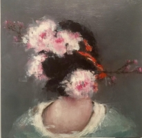 GEISHA WITH WITE FLOWERS - SOLD