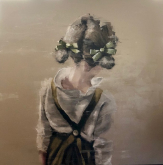 James Doherty |   Girl with Green Ribbons |   Oil and cold wax on canvas |   48 x 48  |   SOLD