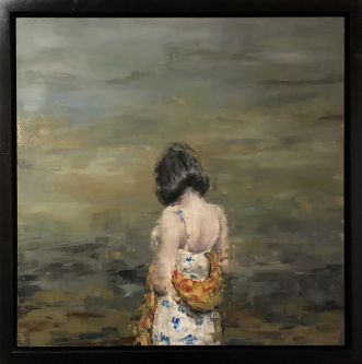 James Doherty |  Girl with Wrap  |  Oil and cold wax on panel |  18 x 18 - 20 x 20  f |  $1,900.