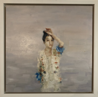 James Doherty |  Girl in the Sun  |  Oil and cold wax on panel |  18 x 18 - 20 x 20  f |  $1,900.