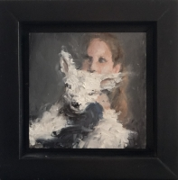 James Doherty |  Girl with Lamb |  Oil and cold wax on panel |   3 x 3 4 x 4 f |  $200.