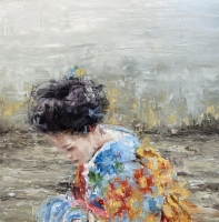 James Doherty |  Geisha in Blue Kimono |  Oil and cold wax on panel |   12 x 12 - 14 x 14 f |  $1,600. SOLD