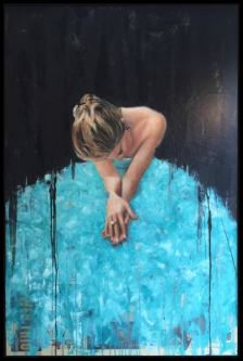 James Doherty |  Waiting in Blue |  Oil, cold wax, and encaustic on wood panel  |  50 x 34  |  SOLD