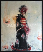 James Doherty |  Bride with Red Flowers |  Oil, cold wax, spray paint on panel  |  50 X 40  |  SOLD